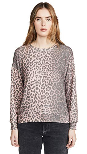 SUNDRY Women's Animal Print Drapey Sweater, Pink, 1
