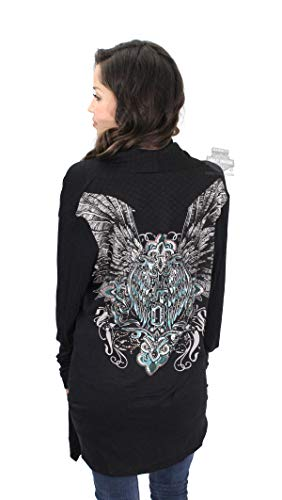 Harley-Davidson Womens Wing Quilted Accents with Rhinestones Cardigan Black Long Sleeve (S/M)