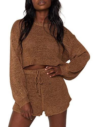 FOBEXISS Conjunto de suéter de manga larga casual de punto de color sólido de 2 piezas para mujer