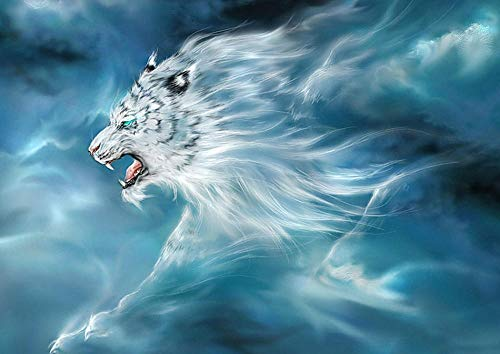 5D Diamond Painting Kits Full Drill Round Drill White Tiger Rhinestone Embroidery for Adults and Kids Wedding Gift 40X55Cm