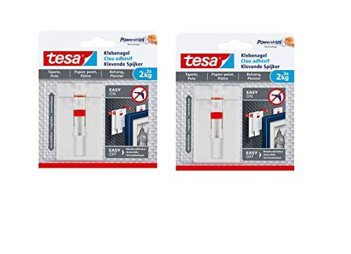tesa Verstellbarer Klebenagel (für Tapeten und Putz 2 kg, Höhenverstellbarer, selbstklebender Wandnagel (2 kg | 4 Nägel)