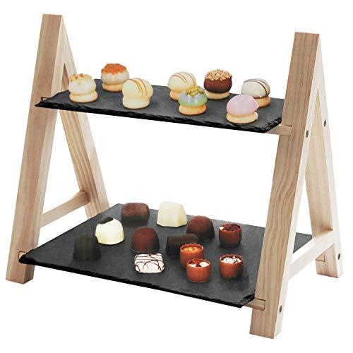 Servierständer mit 2 Ablagen, 32x18x28cm, Holz/Schiefer, Servierset Servierplatte Servierteller Etagere