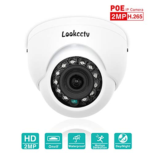 lookcctv IP-camera, 2MP Mini Dome POE Indoor Security Surveillance HD Camera Weerbestendig, 2.8mm Lens 33ft Nachtzicht IR Cut Day/Night HD