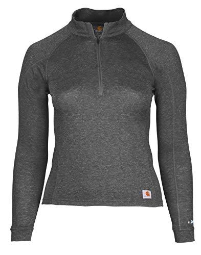 Carhartt Women's Force Heavyweight Quarter-Zip Thermal Base Layer Long Sleeve Shirt, Deep Black Heather, X-Small