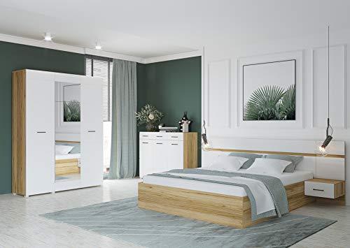 MG Schlafzimmer NENSÍ, Eiche Grand, weiß Hochglanz | Nachttische (2 Stück), Maße (BxHxT): 40x90x44 cm 3-türiger | Kommode, Matratze, Auflagen und Dekoration sind Nicht im Lieferumfang enthalten