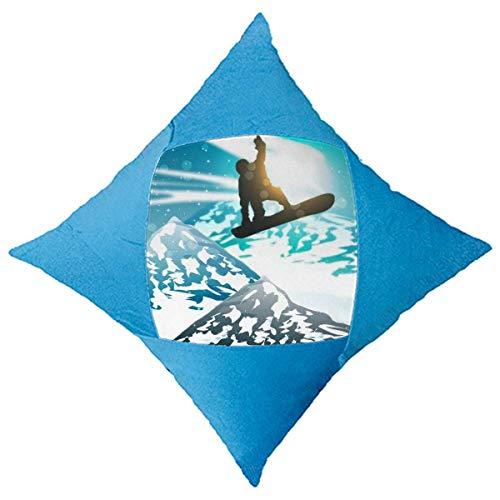 Giftdesign Deporte de Invierno, Esqui esquis Acuarela Decorativo di copertina BLU a cuscino