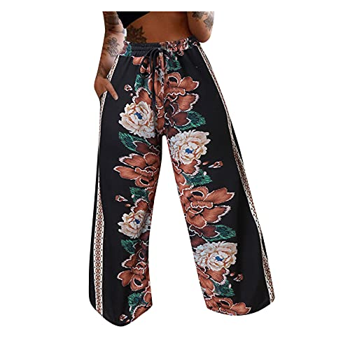 Taurner Pantalones Anchos de Floral Print Pantalón de Playa Suelto Baggy Pantalon Cintura Elástica Pantalones para Mujer con Bolsillo (Negro, S)