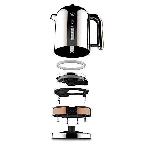 Dualit Classic Kettle | Polished Stainless Steel with Copper Trim | Quiet boiling kettle | 90 Second Boil Time | 1.7 Litre Capacity, 3 KW | 72820