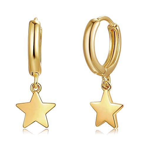 Fettero Huggie Earrings Gold Hoop Stud Ear Cuff Star Dangle Charm Drop 14K Gold Plated Dainty Minimalist Simple Boho Hypoallergenic Small Jewelry Gift for Women