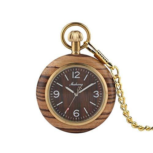 LYMUP Reloj de Bolsillo, Zebra Retro Zebra de Madera Dial de Madera Cuarzo Redondo Cadena de Joyería Analógica Hora de Hora Macho,Vapor (Color : Brown)
