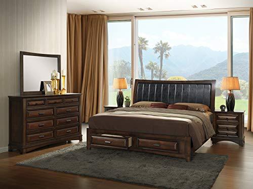 Roundhill Furniture Broval 179 Light Espresso Finish King Storage Bed, Dresser, Mirror, 2 Night Stands Wood Bed Room Set