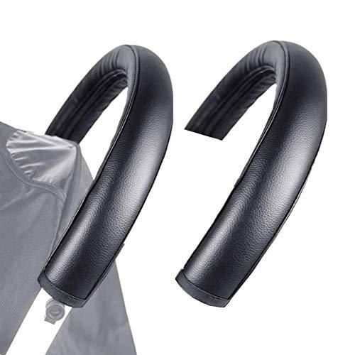 Imagen para 2 piezas de asas de cochecito de paseo Accesorios con cremallera para cochecito de bebé con mango protector de piel para cochecito de bebé