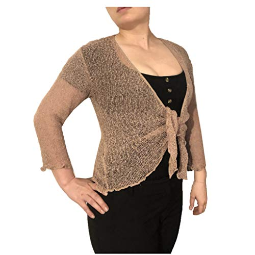 Exclusive Ladies Plain Knitted Cropped TIE UP Bolero Shrug TOP - Massive FIT (Mink)