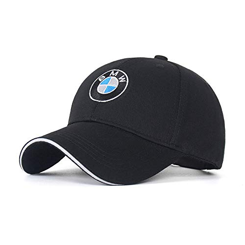 Car Logo Adjustable Baseball Hat, Unisex Hat Travel Cap Car Racing Motor Cap for BMW (Black)