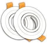 Pack 2x Aro Redondo para Foco Empotrable Aluminio. Aro Downlight. Soporte para GU10.