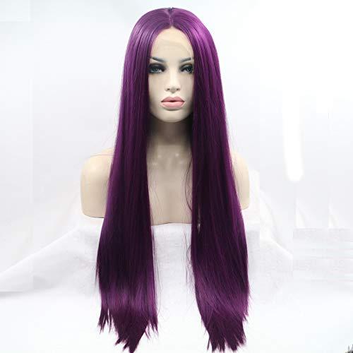 Kunsthaar-Perücke, 61 cm, Naturviolett, lang, seidig, glatt, Lace-Front-Perücke, Mittelscheitel, klebstofffrei, 180 % Dichte, hitzebeständig, für Damen