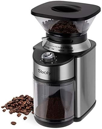 Sboly Conical Burr Coffee Grinder Stainless Steel Adjustable Burr Mill with 19 Precise Grind product image
