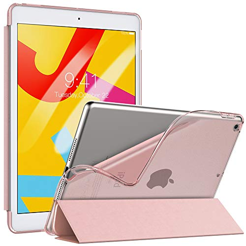 "TiMOVO Case for New iPad 7th Generation 10.2"" 2019, Slim Soft TPU Translucent Frosted Back Protective Cover Shell with Auto Wake/Sleep, Smart Cover Fit iPad 10.2-inch Retina Display - Rose Gold"