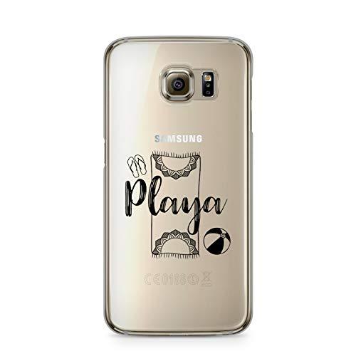ZOKKO - Carcasa para Galaxy S6 Edge Playa – Flexible Transparente Tinta Negro