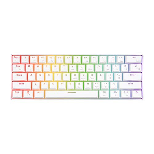 RK ROYAL KLUDGE RK61 RGB Wireless/Wired 60% Compact Mechanical Keyboard,61 Keys Bluetooth Small Portable Gaming Office Keyboard with Rechargeable Battery for Windows and Mac,Gateron Red Switch,White