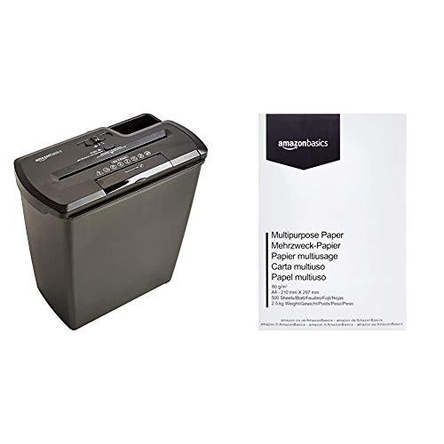 Amazon Basics - Distruggidocumenti 8 fogli, taglio a striscioline, con funzione distruggi CD e carte di credito, Grigio & Carta da stampa multiuso A4 80gsm, 1 risma, 500 fogli, bianco