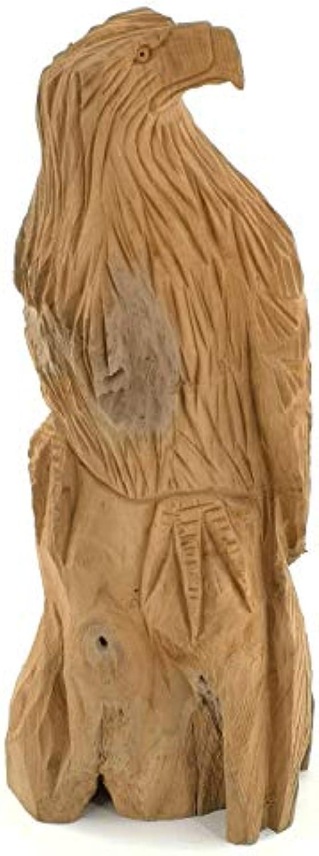 My-goodbuy24 Teakholz Skulptur Handgeschnitzt  Adler  Jede Holzskulptur EIN Unikat  Teak massiv Holz Dekofigur Abstrakte Teakdeko - Wohnzimmer Dekoration (Hhe   35-38 cm)
