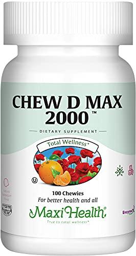 "Maxi Health Chew-D-Max -""2000 IU"" Vitamin D3 - Bubble Gum Flavor - 100 Chewies - Kosher"