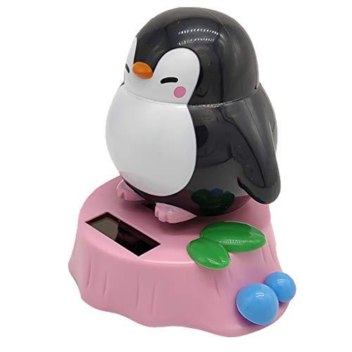 Perfeclan Solar Pinguin Tiermodell Wackelfigur Dekofigur Solarfigur Spielzeug, Schütteln Kop - H