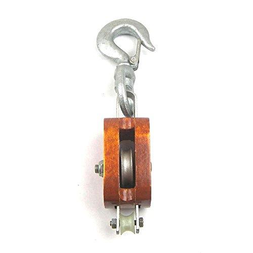 Load Rated - Single Sheave Rigging Wood Block w/Swivel Hook (6