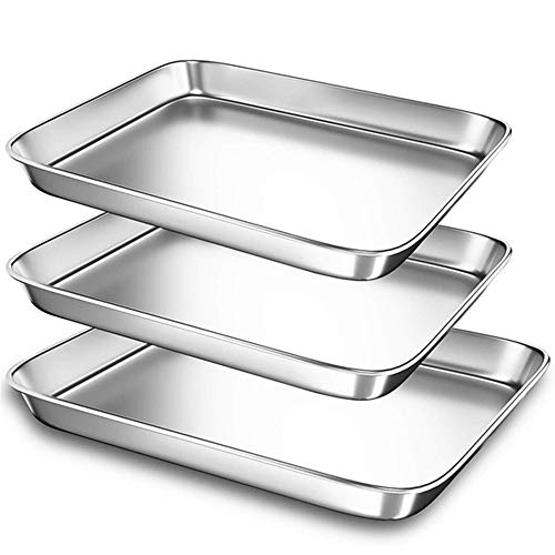 XYAM 1Pcs Baking Sheets Chef Cookie Sheets Stainless Steel Baking Pans Toaster Oven Tray Pans Easy Clean Baking Dishes Kitchen(40x30x2.5cm)