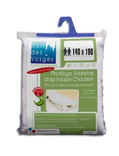 Nuit des Vosges 2060713 Arnaud Protège Matelas Imperméable Coton Blanc 140 x 190 cm