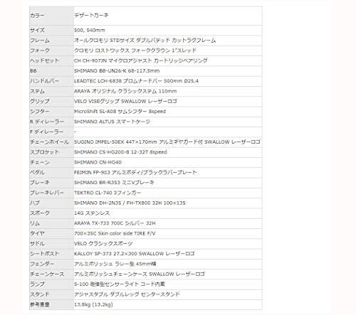 ARAYA(アラヤ)PRMスワロープロムナード(GENTS)シティスポーツサイクル[デザートカーキ500mm]