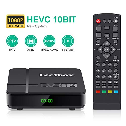 Decoder Digitale Terrestre,DVB-T2 Leelbox K2 Ricevitore Digitale Terrestre Full HD /1080p/3D/H.265 /Porta Gigabit/ Dolby / MPEG-2/4, Supporta IPTV/YouTube