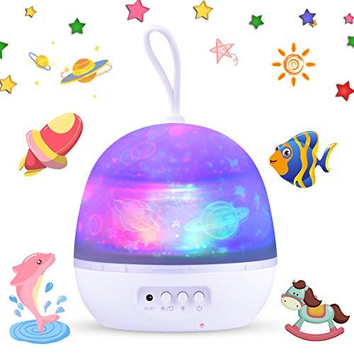 Funkprofi LED Sternenhimmel Projektor Lampe, Nachtlicht für Kinder, 4 in 1 Tragbare Projektionslampe, 8-Farbwechsel & 360°drehbare Tischlampe für Babyzimmer, Kinderzimmer, Party, Geschenk(tragbar)