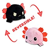 TeeTurtle The Original Reversible Axoltl Plushie Patented Design | Pink & Black | Show Your Mood Without Saying a Word!