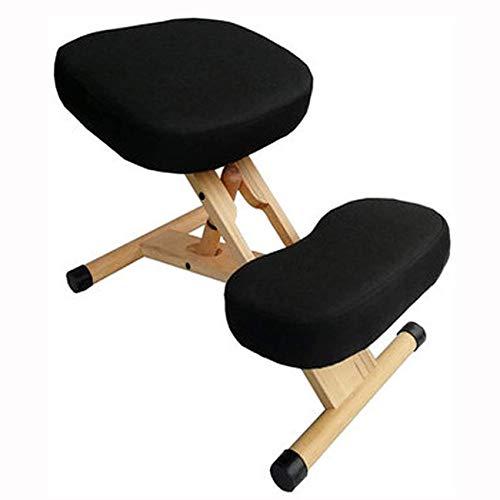 AFTIU Kniestuhl aus Holz für zu Hause, Höhenverstellbarer Ergonomischer Kneeling Chair zur Linderung von Rücken- und Nackenschmerzen, Verhinderung von Myopie, für Computer und Büro,Schwarz