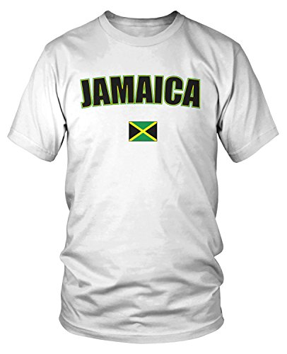 Amdesco Men's Jamaica Country Flag, Jamaican Flag T-Shirt, White Medium