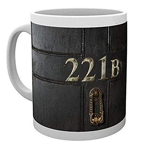 Sherlock Tasse 221B Baker Street Sherlock Holmes zur Serie 300ml Keramik grau braun