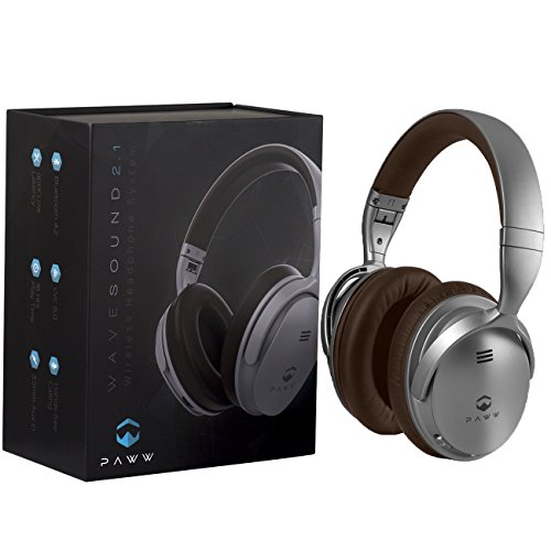 Paww WaveSound 2.1 Wireless Bluetooth 4.2 Over-The-Ear Foldable Headphones/Headset with Mic, aptX Low Latency (34 ms) Super Fast Audio for TV, PC Gaming, Wired Mode - Silver/Brown
