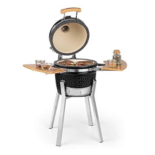 "Klarstein Princesize Pro Kamado - Grill Ceramic Grill, Smoker BBQ, Diameter: 13"" (33cm), Stainless Steel Grill Grate, for Grilling, Slow Cooking, Smoking or Baking, Ceramic Insert - Black"