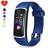 Fitness Tracker HR, Waterproof Activity Tracker with Heart Rate Monitor and Sleep Monitor,Waterproof Pedometer, Step Counter, Calories Counter for Android & iPhone (Blue Band)
