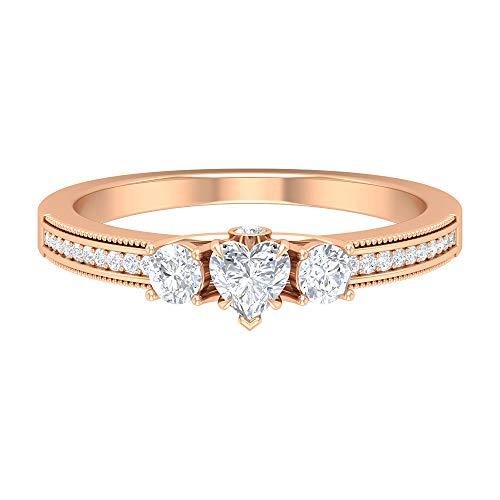 Anillo de compromiso de diamante en forma de corazón de 4 mm, anillo de compromiso de diamantes HI-SI de 1/2 quilates, anillo solitario con piedras laterales, 14K Oro rosa, Size:EU 51