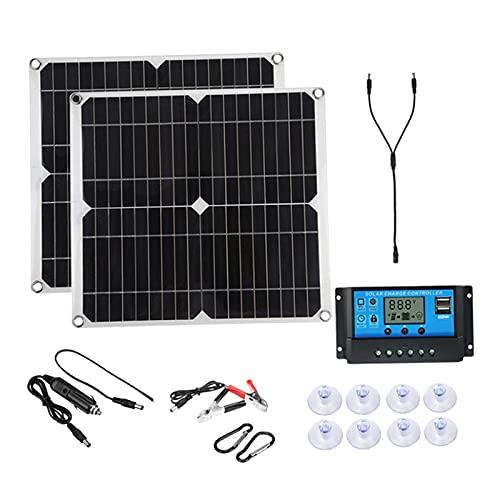 FLAMEER Kit de panel solar de 50 vatios Cables solares Sistema fuera de red de alta eficiencia Cargador de energía solar para acampar en casa - Controlador 20A