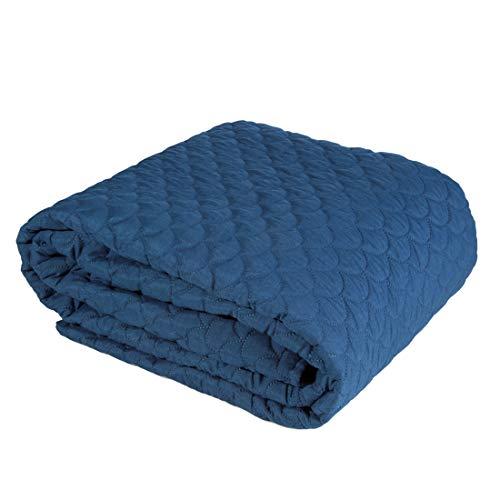 Eurofirany Bettüberwurf Schlicht Tagesdecke Fischschuppenmuster Gesteppte Decke Überwurf Steppdecke Schlafzimmer Wohnzimmer Gästezimmer Lounge, Marineblau, 170X210cm