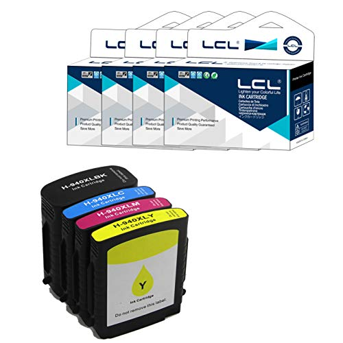 LCL Cartucce d'inchiostro Compatibile 940XL C2N93AE C4906AN C4906AE C4907AE C4908AE C4909AE Sostituzione per HP Officejet Pro 8000-A809a A811a A809n 8000 Wireless (1Nero 1Ciano 1Magenta 1Giallo)