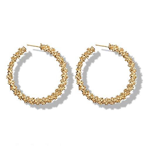 FEARRIN Pendientes de aro de Oro de Metal a Granel para Mujer, Pendientes geométricos de círculo Redondo, joyería Femenina de Acero Inoxidable 4272