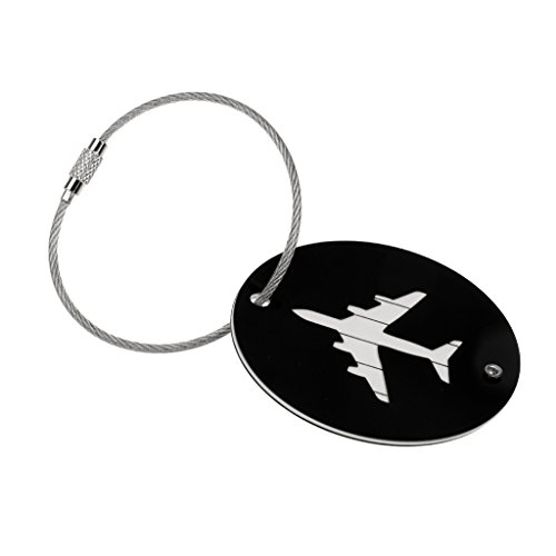 #N/A 7 Colors Suitcase Tags Plane Pattern Travel Luggage Handbag Tags Badge Name Tag Address - Black, 6cm