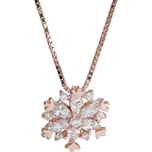 weichuang Collar de plata de ley 925 brillante con circonita AAA para niñas, regalo de boda, fiesta de cumpleaños, gargantilla de joyería fina para mujer (color de gema: oro rosa, longitud: 40 cm)