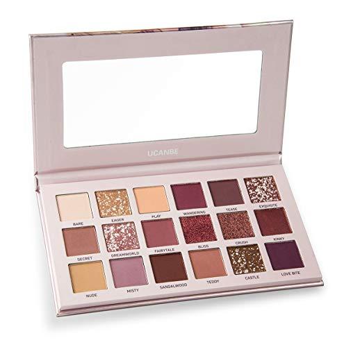 UCANBE - Palette d'ombres à paupières 18 couleurs avec miroir - y compris les couleurs Mat Shimmer & Glitter - Set de maquillage crémeux en poudre Natural Nudes (Aromas)