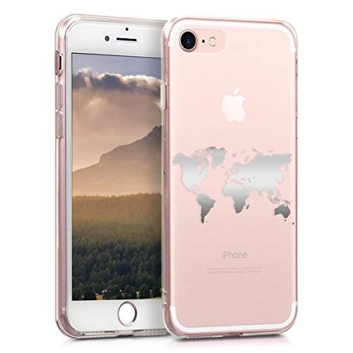 kwmobile Hülle kompatibel mit Apple iPhone 7/8 / SE (2020) - Handyhülle - Handy Case Travel Umriss Silber Transparent
